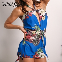 Buy shoulder halter Women jumpsuits&rompers Floral print chiffon summer jumpsuit romper Backless sexy playsuit overalls