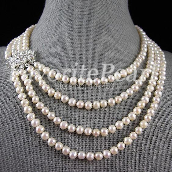 """3 Strand Natural Freshwater Pearls Pendant choker Necklace 16/"""" 925 SS New"""