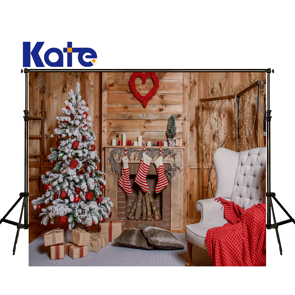 KATE Photography Backdrops Christmas Backdrop Christmas Tree Decorations Background Photos Of Fireplaces Wooden Wall Background <br>