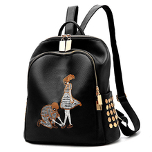 Womens Backpack Women's PU leather backpack Girl School shoulder bag teen girls embroidery Leisure bag(China)