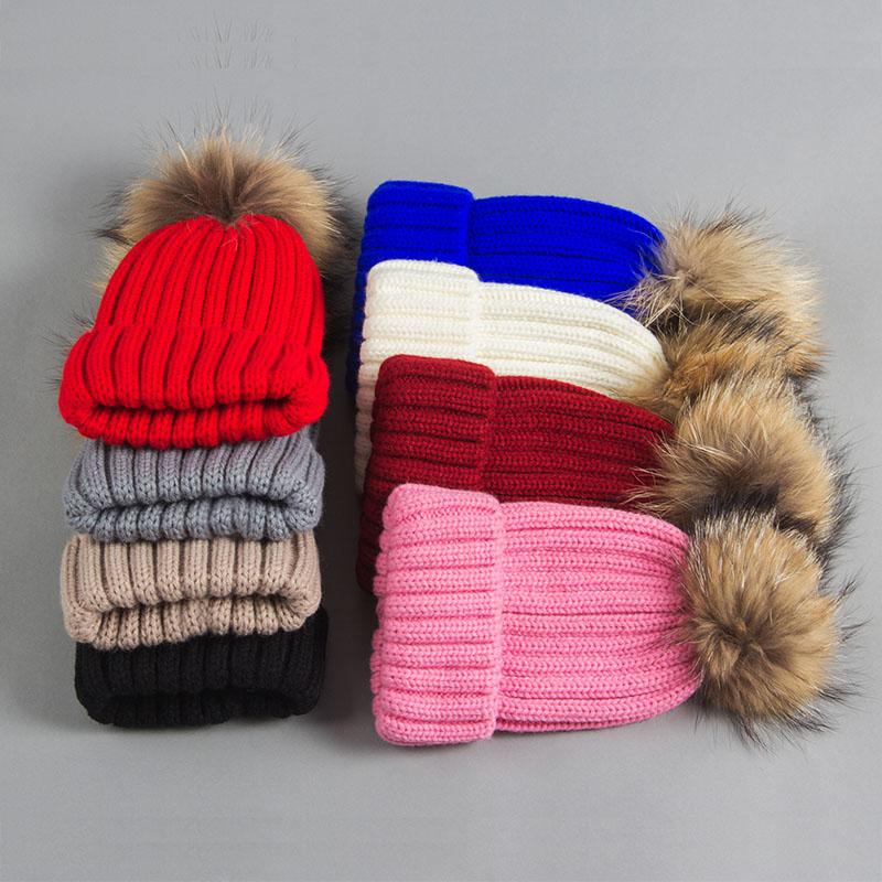 kid hat with fur pompom 5