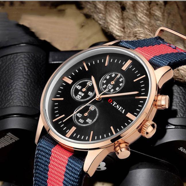 2017 Famous Brand O.T.SEA Luxury Lady Watches Classics Canvas Band Sports Men Analog Watch Quartz Wrist Watches dropshipping analog watch