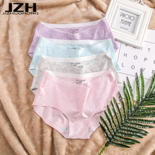 JZH High Quality 4PCS/lot Sexy Women Panties Solid Seamless intimates Soft Cotton Underwear Summer Thin Calcinha Female M-XL