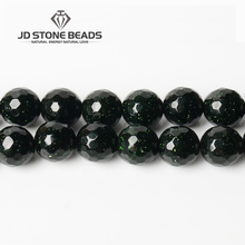 JD Stone Beads Free Shipping Faceted Green sand beads Personalized Fashion Hand-made Jewelry Ornament(China)