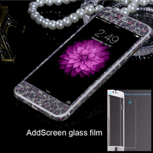 Sticker + Screen glass film Kit for iPhone 6 6S Plus Fashion Beauty Bling Shining Full Body Decals Protective Skin Case