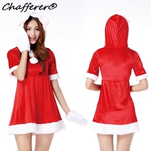 Chafferer New Year Red Christmas Santa Women Catsuit Rabbit Girl Sexy Halloween Party Costumes Dresses Stage Nightclub Uniforms(China)