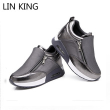 LIN KING New Height Increase Women Casual Shoes Zipper Wedges Muffins Shoes Breathable Thick Sole Travel Shoes Ankle Swing Boots