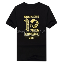 2017 real campeones Winners 12 la Duodecimo Short Sleeve champions T-Shirt Man casual for hala madrid ronaldo fans gift
