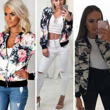 New Women Basic Coat Casual Slim Zippers Flower Printed Bomber Jacket Street Fashion Outfit Autumn Winter Jackets Tops H9