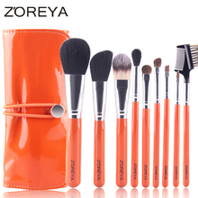 ZOREYA 9 pcs Top Quality Makeup Brush set Goat Hair Wood Handle Metallic Ferrule with Make up Brushes Holder of PU Leather Bag