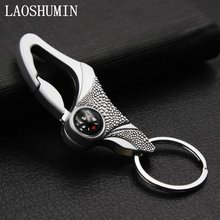 LAOSHUMIN Metal Business Key Chain Rings Holder For Auto Key Holder outdoor guide function Gift For Men High Quality Gift SHJ190(China)