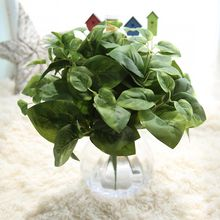 HAOCHU 5pcs Evergreen Silk Plant Green Leaves Artificial Flower For Home Wedding Decoration DIY Wreath Gift Centerpieces Supply