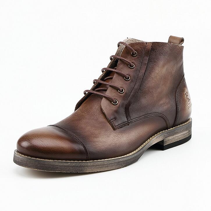 2017 Handmade Genuine Leather Men Boots Brand Men Ankle Boots Casual Genuine Leather Design Ankle Boots Men drop Shipping<br><br>Aliexpress