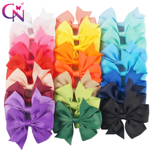 "50 Pieces/lot 3"" Pinwheel Hair Bows With Clips For Girls Kids Princess Plain Grossgrain Ribbon Bows Hairpin Hair Accessories(China)"