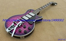 Custom Electric Guitar,purple quilt,bigsby tail,HHH pickups.High Quality, Wholesale & Retail, Real photo showing