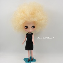 [NBL138]Free shipping Nude Blyth Doll with Light Yellow Wild-curl Up Rubber Face Suitable For DIY Change make up Toy For Girls(China)