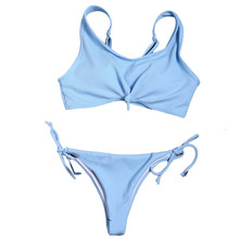 Buy Cheapest Price 2018 New Bra Set Women Sexy Beach Halter Set Swimsuit Outwear Blue S-L Size High Quality Women's Lingerie May 15