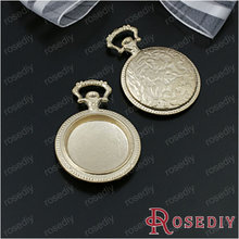 Wholesale 38*27mm inside 20mm Matte Gold color Round Pocket Watch Box Alloy Cameo Settings Pendants Diy Findings 6 pcs(JM5604)(China)
