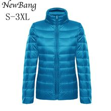 Women Feather Clothes Stand Collar Regular Portable Ultra Light Down Jacket With Carry Bag Women's Overcoat  Plus Size