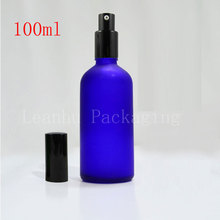 Import frosted blue glass perfume bottles wholesale 100cc lotion bottle with black pump