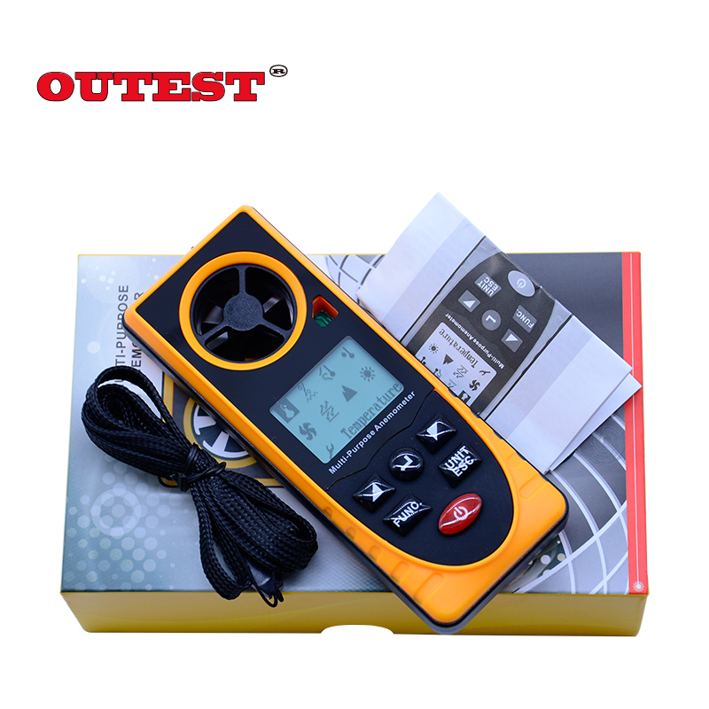 GM8910 Multi-functional digital anemometer wind chill dew point barometric pressure tester With colorful box<br>