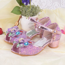 Children's leather sandals toddler high heels for little girls princess shoes girls rhinestone sandals designer kids sandals(China)