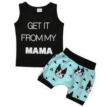 Toddler Kids Baby Boy Clothes Get it from My mom Letter Casual T-shirt Tops+Cartoon Dog Print Shorts Outfits 2pcs baby Set(China)