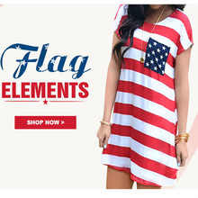Women American Flag Pocket Mini Dress 2017 Independence Day A-Line Striped Pocket Above Knee O Neck Short Sleeve Ladies Dresses