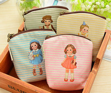 Kawaii 4Colors - Little Girl DOLL 10.5CM - Canvas Hand Coin Purse & Wallet Case BAG ; Makeup Storage Holder Case BAG Pouch