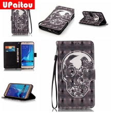UPaitou 3D Painted Skull PU Leather Case for Samsung Galaxy A3 A5 J3 J5 ( 6 ) 2016 Note 5 7 G360 G530 Flip Wallet Cover Cases(China)