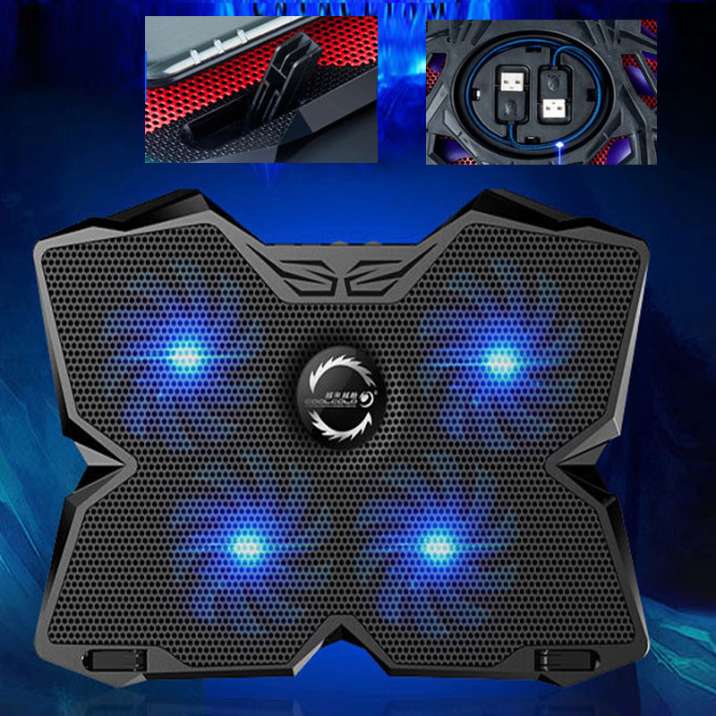 Cool Cold USB Four Fans Laptop Cooler Cooling Pad Base LED Notebook Cooler Computer 2 USB Fan Stand for Laptop PC 15.6 to 17<br>