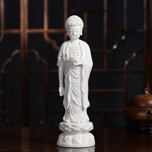 Handmade Ceramic Sakyamuni Buddha Standing on Lotus Ornaments White Porcelain Buddha Figure Guardian Angel
