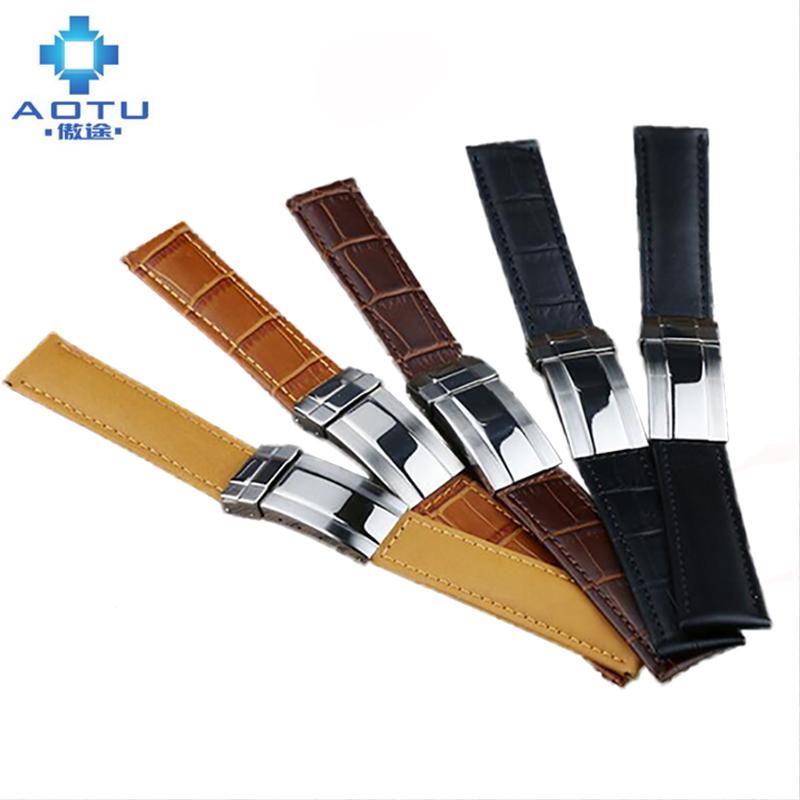 Genuine Leather Watch Strap For Rolex Daytona Submarine Watch Top Brand Men Leather Watchband For Rolex 19 20mm Male Clock Belt<br>