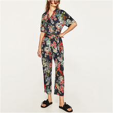 Women Floral-print Jumpsuits 2017 Milan Paris Big Brand Playsuits V-neck Short Sleeve Summer Fashion Flowers Printed Jumpsuits(China)