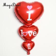 Red Triple Heart Foils Balloon I LOVE YOU Wedding Valentine Party Decoration(China)