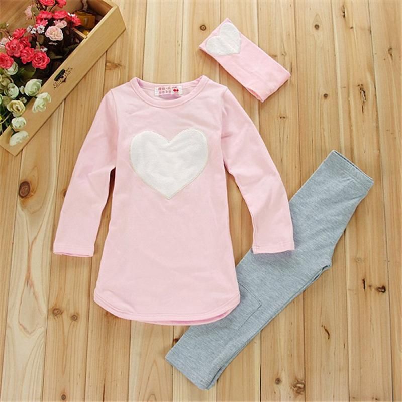 2017 New Girl Clothing Set (Hairband+Shirts+Pants) Long Sleeve Girls Clothes Suits Pink Red Heart Pattern Kids Clothes<br><br>Aliexpress