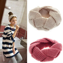 1 pc Crochet Twist Knitted Headwrap Winter Warmer Hair Band for Women clothing Accessories headband 9 colors(China)