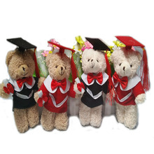 One piece, light brown, stuffed graduation jointed teddy bear pendent, plush graduation joint teddy bear, 4 styles to choose