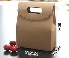 12.5*5.7*16cm Hot-selling 10pcs/lot brown Kraft Paper Bag Pouches Bag for Gift Present Bags Packaging for Food Snack Bread(China)
