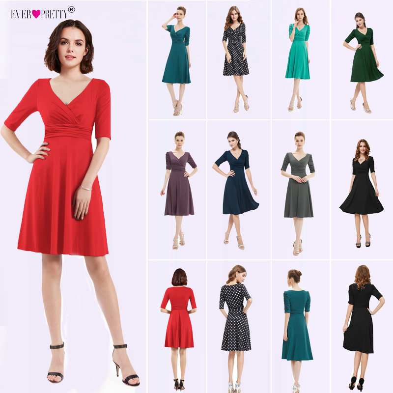 Cocktail Dresses Ever Pretty 2018 AS03632 3/4 Sleeves Hot Selling V Neck Pleated High Stretch Plus Size Short Dresses Women