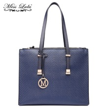 LT6636 Miss Lulu Brand Women Designer M Leather Handbag Large Navy Adjustable Shoulder Tote Bag