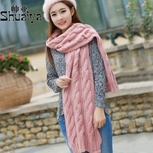 Coarse lines shawl men and women in autumn and winter days long thick knitted scarf knitted wool scarves twist