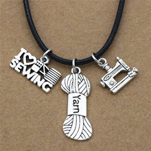 New Personality Antique Silver I Love Sewing Charms Sewing Machine Yarn Balls Pendant Leather Chain Unique Jewelry Necklace Gift(China)