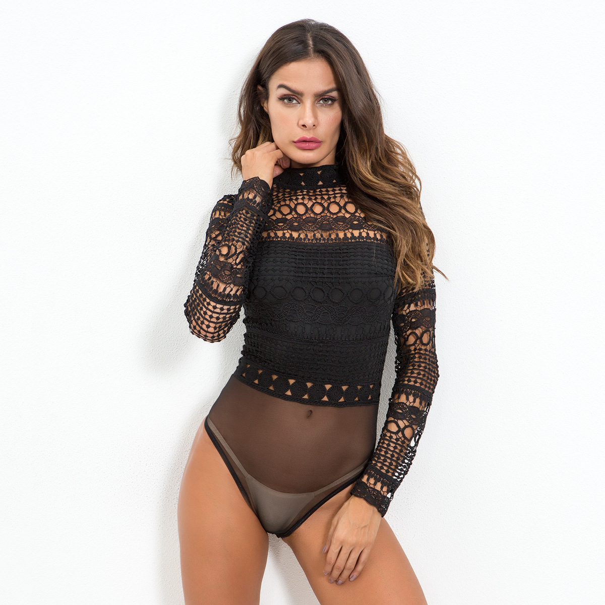 5358abece1 2019 Sexy Black White Lace Mesh Crochet Bodysuit Womens Hollow Out ...