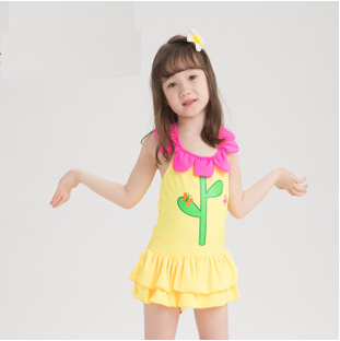 Aliexpress Com Brand For 3 8 Age Kid Baby Flower One Piece Swimsuit 2017 Children Cute Fresh Pretty Yellow Beach Bathing Swim Wear Dress From