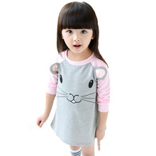 Spring Girl Clothes Dresses 2017 Cartoon Mouse Panda Pattern Girls Toddler Princess Dress Brand Kids Frock Designs Costume Dress(China)