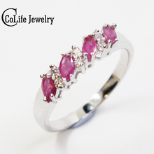 Hot sale silver engagement ring 100% natural ruby geme woman wedding ring for evening party 925 Solid Sterling Silver ruby ring(China)