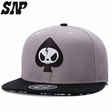 ash color Flat Brimmed Hat Embroidered ufo Baseball Cap Fashion bones hip-hop Hats for Men Women Cap(China)