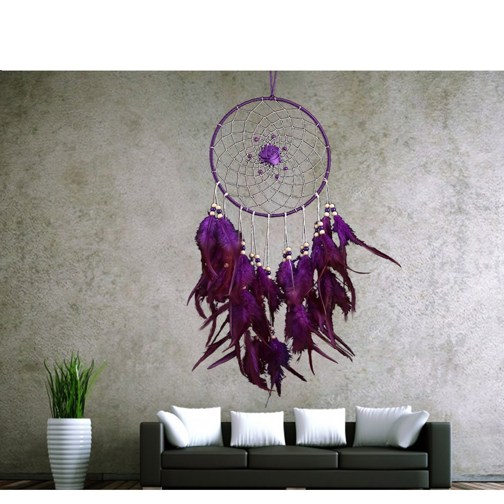 1 Piece New Artistic Purple Big Round Dreamcatcher Wind Chimes Indian Style Flower Feather Pendant Dream Catcher Gift(China)