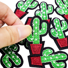 10pcs Diy Cactus patches badges for clothing iron embroidered patch applique iron on patches sewing accessories on clothes bags